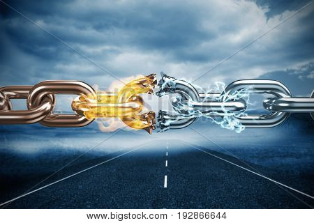 3d image of broken silver metal chain against cloudy landscape background with street