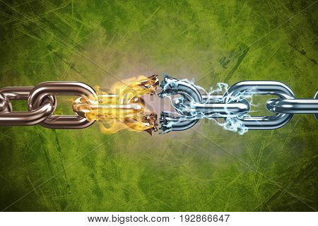 3d image of broken silver metal chain against green background