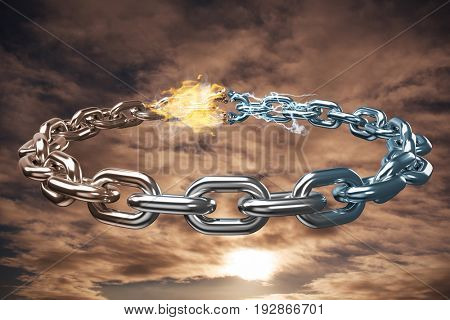 3d image of circular silver chain against cloudy sky