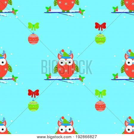 Cute owls christmas seamless vector pattern funny, joy, kid, wrap, style, snow,  , print, tree, branch