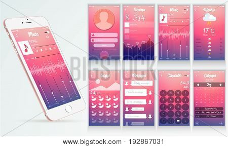 Layered modern ui interface design with smartphone