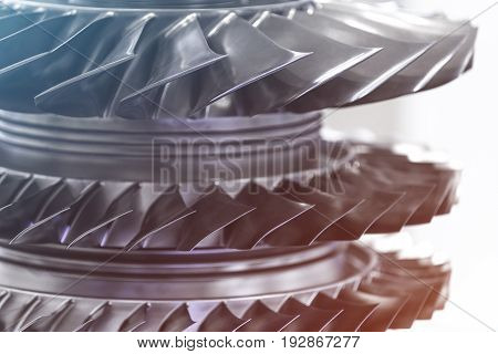 Turbine Engine. Aviation Technologies. Aircraft jet engine detail in the exposition. Blue toned