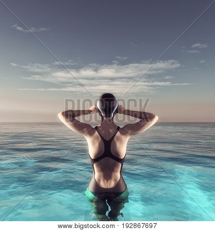 Young women swim in sea. This is a 3d render illustration.
