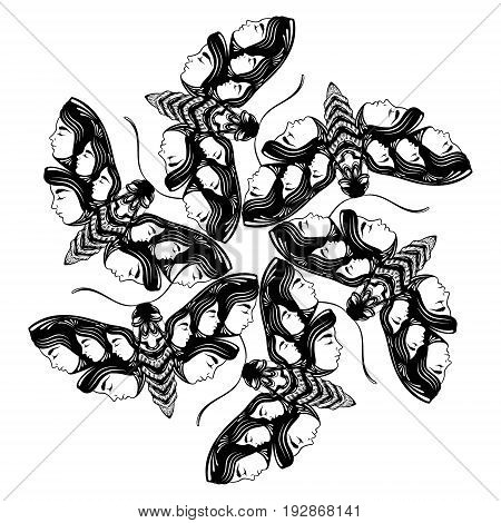 Vector hand drawn illustration of moth with female faces on the wings. Fantasy occultism tattoo art. Template for card poster banner print for t-shirt.