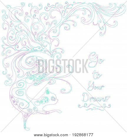 Vector greeting card hand drawing. Ornamental decorative graphic cat. Greeting card. Frame for logo label or greeting. Design a decorative cat with a place for your message.