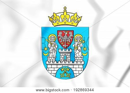 3D Flag Of Poznan, Poland.