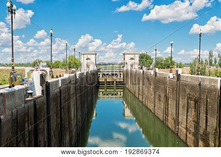 Empty Airlock Waterworks Ship Canal Before Filling With Water