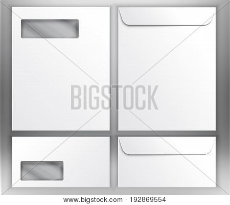 Realistic white envelopes with transparent window collection