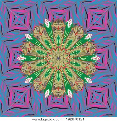 Kaleidoscope medallion yoga india arabic. Ornament colored card with mandala. Tribal Boho Bohemian style. Geometric circle vector element.