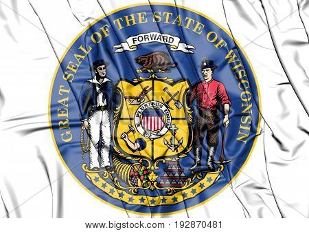 3D State Seal Of Wisconsin, Usa.