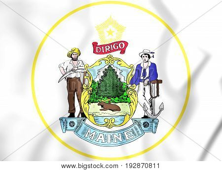 State Seal Of The Maine State, Usa.