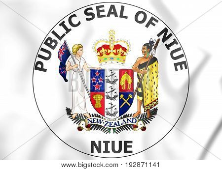 3D Niue Coat of Arms. 3D Illustration.
