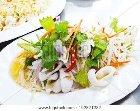 Thai spicy and sour seafood salad in Thailand