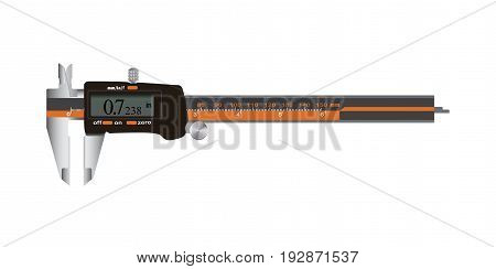 Electronic Digital Caliper with screen auto off featured measuring tool. Vector Illustration isolated on white background.