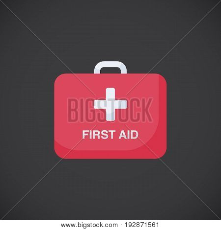 First aid kit box vector flat icon Flat design of first aid and healthcare object isolated on the dark background vector illustration