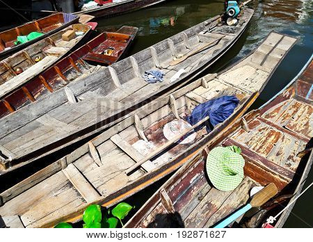 Old Wooden Boats in Bangkok in Thailand.