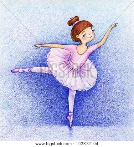 hand drawn picture of little beautiful ballet dancer on the stage by the color pencils