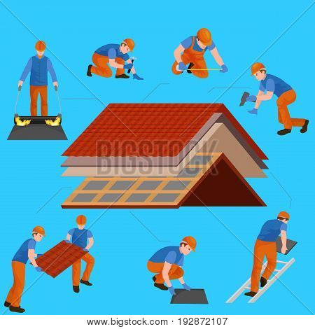 roof construction worker repair home, build structure fixing rooftop tile house with labor equipment, roofer men with work tools in hands outdoors renovation residential vector illustration.