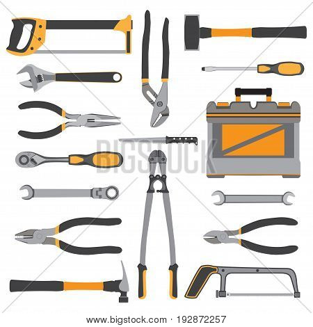 Construction repair tools flat icon set. Bench, small tools isolated on white background. Vector illustration.