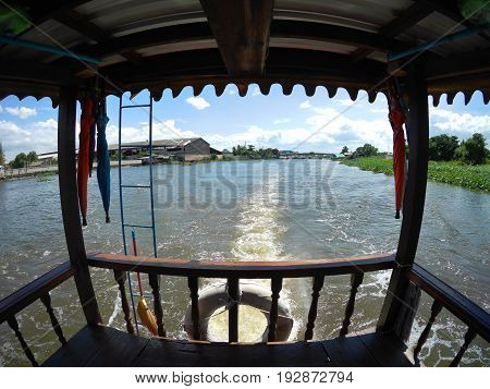 Boat Transportation on Tha Chin River at Nakhon Pathom Thailand.