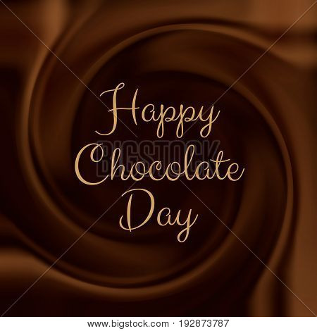 Happy Chocolate Day background with melted chocolate swirl