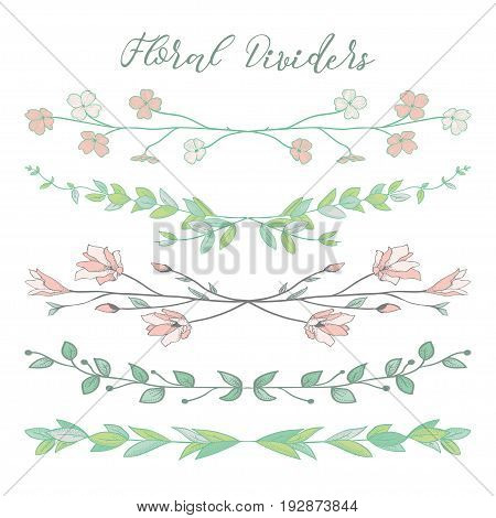 Colorful Hand Drawn Doodle Dividers, Line Borders with Branches, Herbs, Plants and Flowers. Decorative Vector Illustration. Floral Dividers