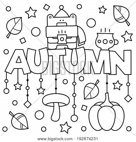 Black and white vector illustration. Coloring page. Autumn