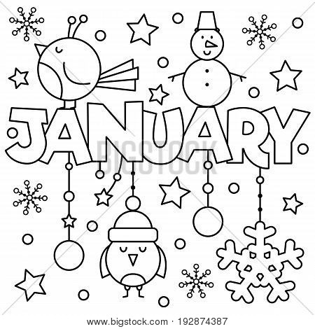 Black and white vector illustration. Coloring page. January