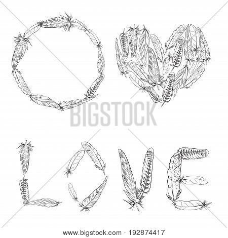 A set of elements made of bird feathers. Feather wreath. Love inscription. Heart of feathers. Black and white. Isolated. Vector