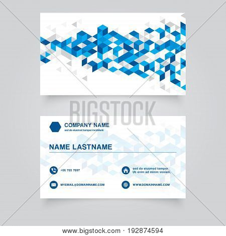Business Namecard abstract blue geometric background with polygonal triangles cube pattern. Vector Illuatration
