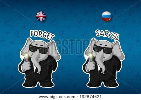 Erasing memory. In a black suit. Elephant. Big set of stickers in English and Russian languages. Vector, cartoon