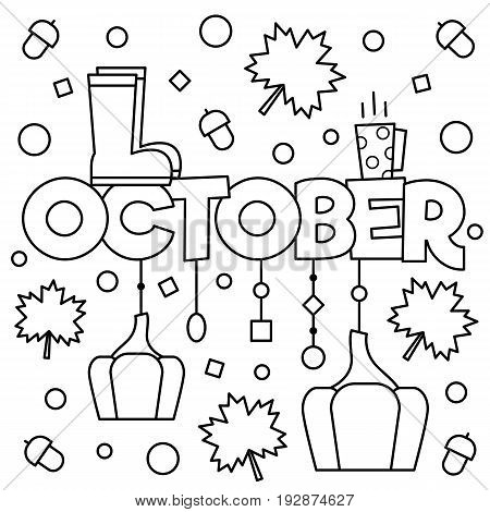 Black and white vector illustration. Coloring page. October