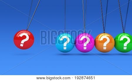 Question mark symbol and icon on colorful spheres customer service support questions concept 3D illustration.