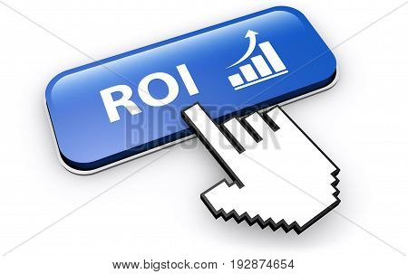 Business investment concept with ROI sign and growing graph icon on a blue web button 3D illustration.