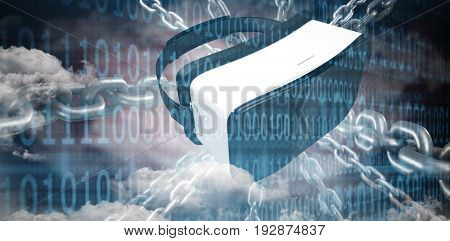 3d image of silver chain against clouds and binary coded computer screen