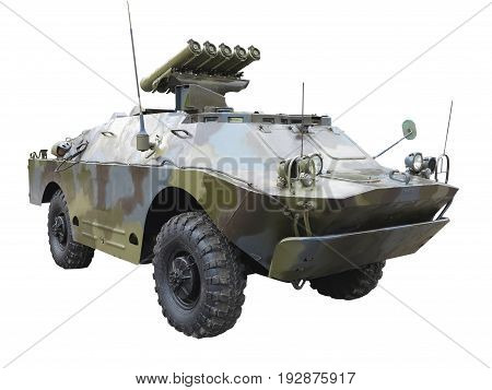 Old russian green mobile antitank missile system isolated over white