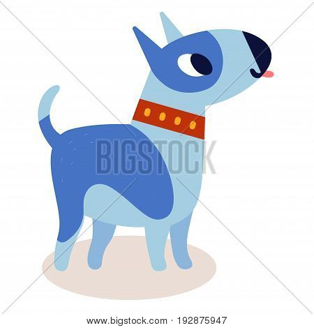 Cute cartoon blue bull terrier dog in a red collar isolated on white background. Simple modern flat style vector