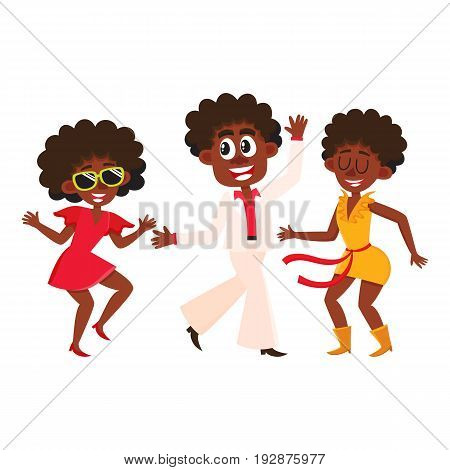 Set of retro disco dancers, black boys and girls, men and women, cartoon vector illustration isolated on white background. Men and women in colorful clothes dancing at retro disco party