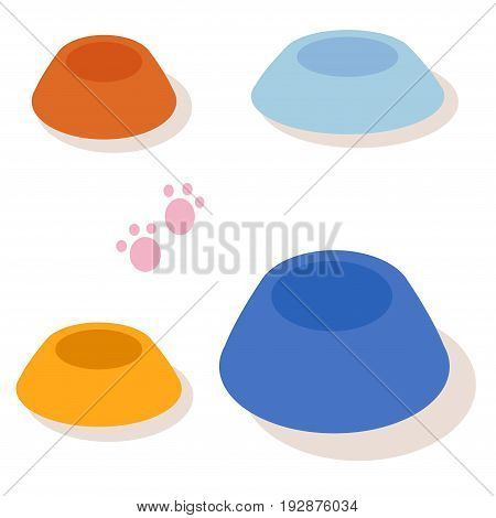 Set of multi-colored bowls for pets isolated on white background. Vector
