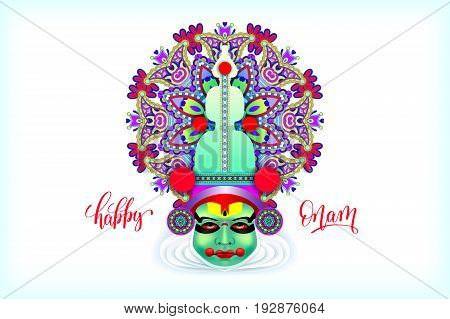 indian kathakali dancer face decorative modern vector illustration with hand lettering for happy onam holiday