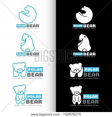 White and blue Polar bear logo vector set design
