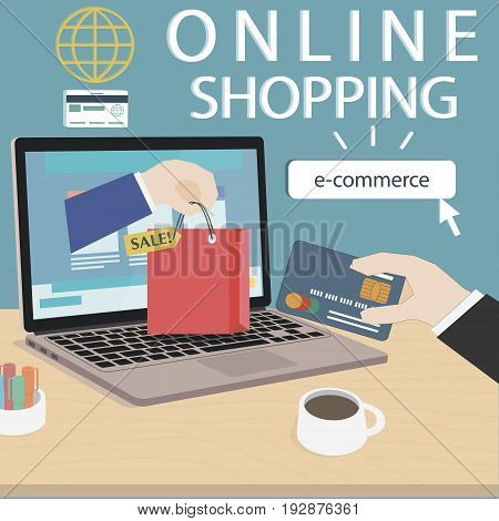 Online shopping concept with hands of seller and buyer from computer