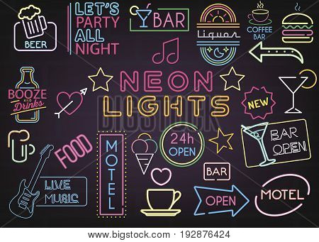 Neon Bar Lights Decoration Mega Set vector