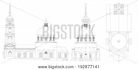 The temple of the Russian Orthodox Church, a drawing in lines, views from all sides