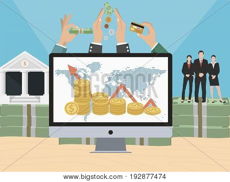 E-commerce business concept with business team, money and bank