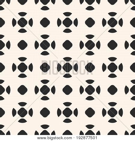 Vector monochrome seamless pattern, dotted endless minimalist texture, simple abstract background with rounded figures. Repeat geometric tiles. Design pattern, textile pattern, covers pattern, digital pattern, web pattern, fabric pattern.