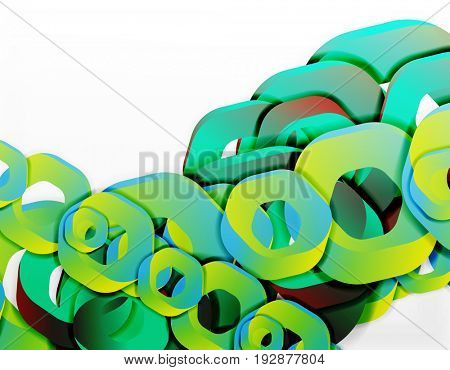 Geometric abstract background, cut chain shapes or hexagons on white. illustration