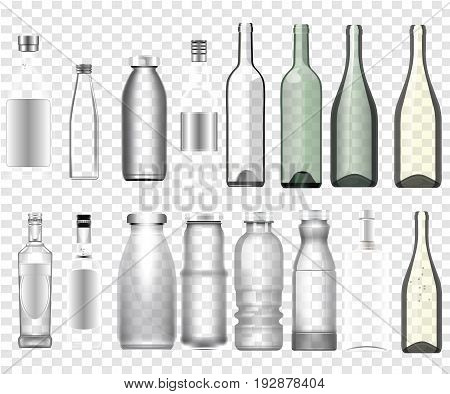 Collection of isolated realistic epmty bottles mockup