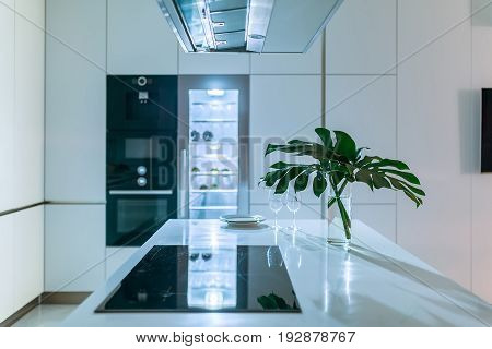 Luminous modern kitchen with light walls. There is a white tabletop with a stove, plates, glasses, vase with green leaves. Behind it there is an oven and a fridge, over it there is a kitchen hood.