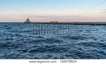 Lighthouse and Ships in Canal Park in Duluth Minnesota